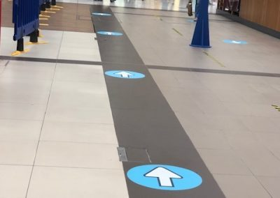 social distance floor markings and signage